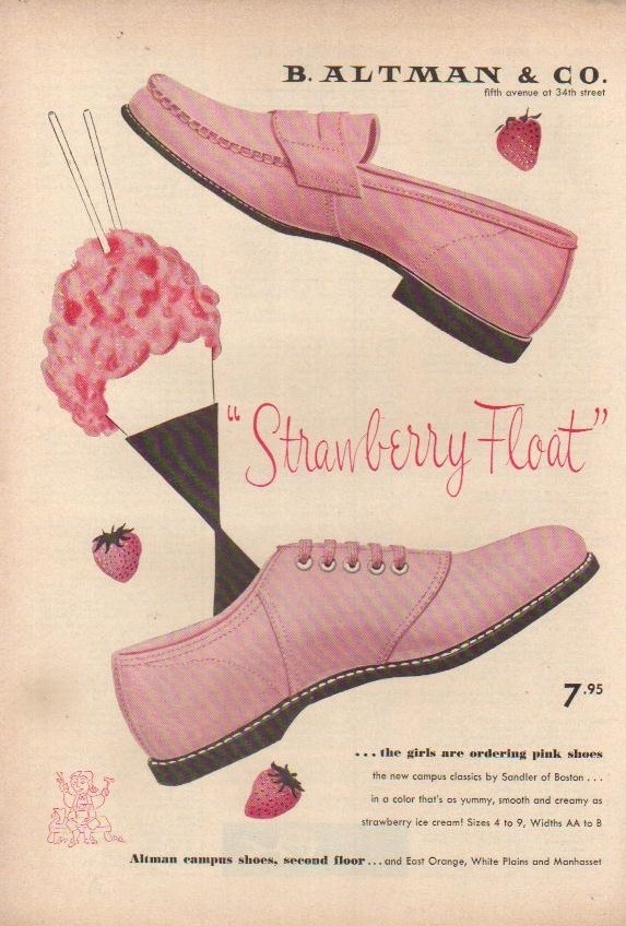 1955 B Altman Department Store Girl's Strawberry Float Pink Shoes 50s