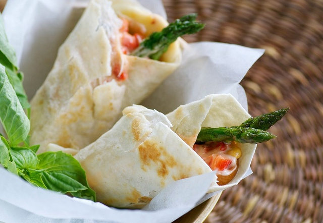 Eggplant, Asparagus, and Smoked Mozzarella Sandwich Wraps with Red ...