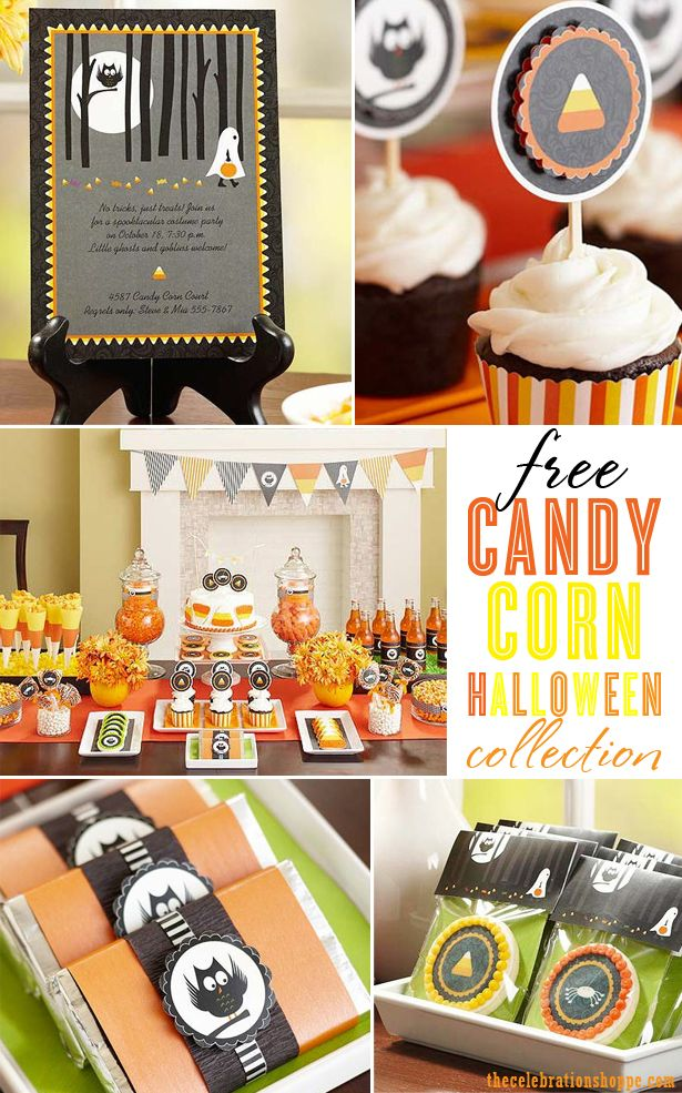 FREE Candy Corn Halloween Party Printables from blog.thecelebrationshoppe.com ~ owls, spiders and candy corn! oh my! #halloweenparty #owls #candycorn