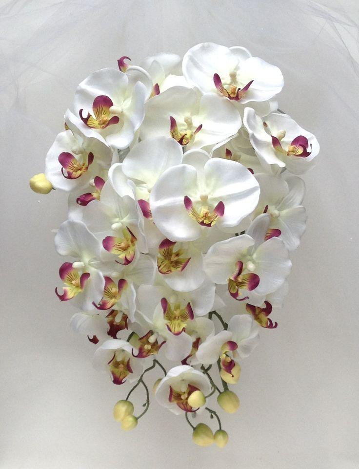 Cascade Orchid Bridal Bouquet : White orchid bouquet wedding flowers cascading plum