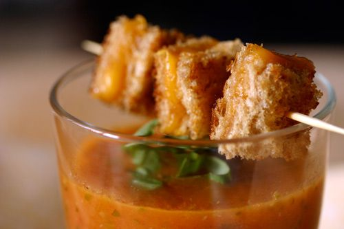 Mini Tomato Soup with Grilled Cheese bites