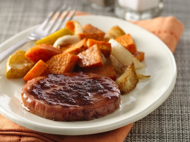 Smoked Pork Chops with Apple and Sweet Potato | Recipe