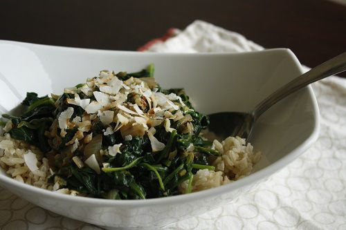 Spiced Coconut Spinach, thinking about spring! http://booklovercook ...
