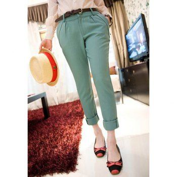 Skinny modern style solid color polyester women s pants green xl in