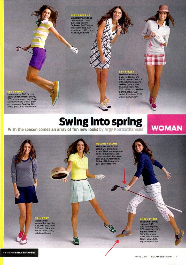 GOLF DIGEST Apr 2011 I like all the outfits on the bottom row