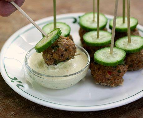 ... hot or mild Italian turkey sausage meatballs with fennel-mustard sauce