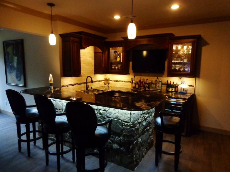 Basement Bar With Stone Home Decor Pinterest