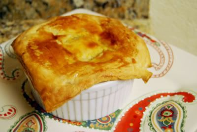 Individual Chicken Pot Pies. Subbing pie crust for puff pastery, we'll ...