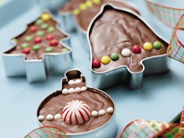 Fudge in cookie cutters.