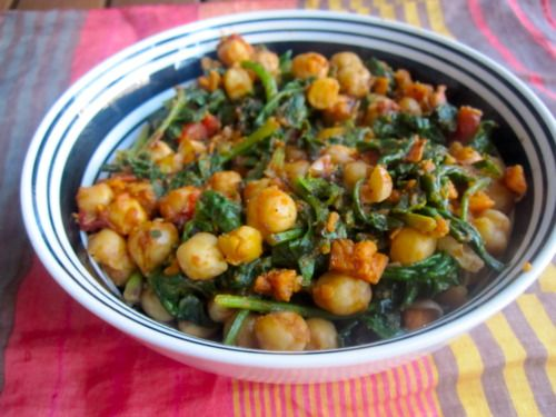 Spinach, Chickpeas, and Mashed Squash - serve over brown rice