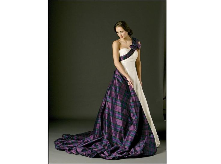 Tartan twist coloured wedding dresses pinterest for Scottish wedding dresses with tartan