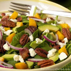 spinach mango amp avocado salad w applewood bacon toasted pecans amp ...