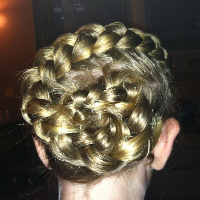 Flower bun braid.. Just messing around with bailey's hair..