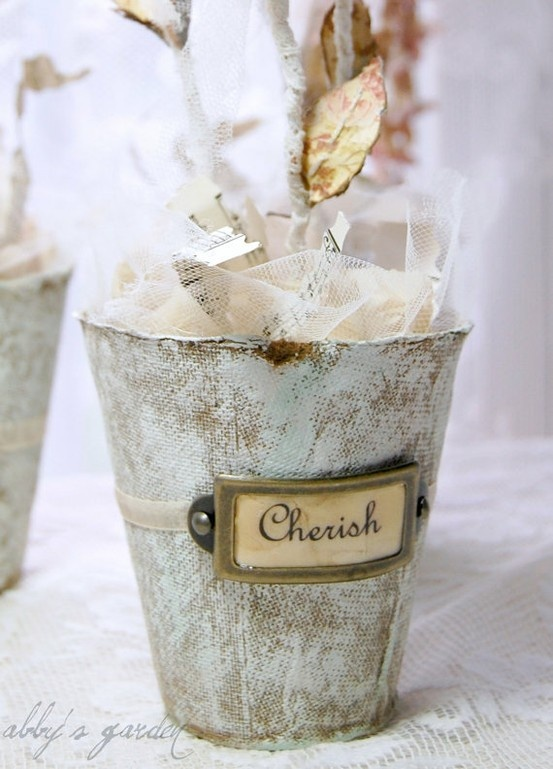 painted and tagged shabby peat pots