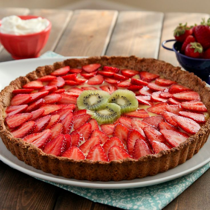Strawberry lemon curd tart with gluten-free almond crust. i just want ...