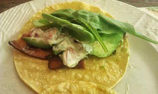 Sassy BLT wrap with avocado and basil mayo