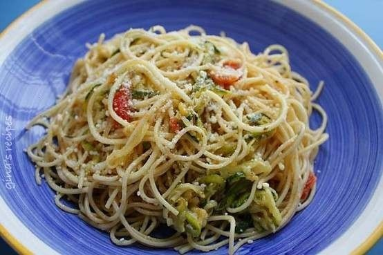 ANGEL HAIR WITH ZUCCHINI AND TOMATOES | Recipes, just looks good | Pi ...