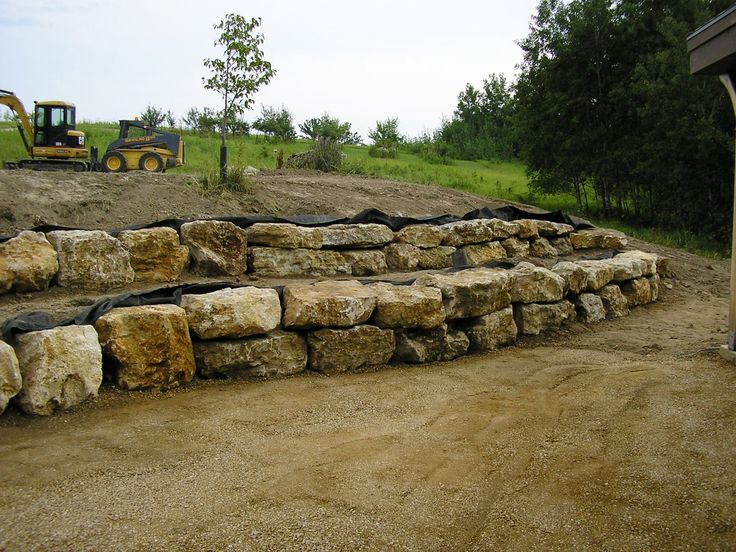 Landscaping Boulders Mn : Limestone boulder wall southern mn my landscape installations pi