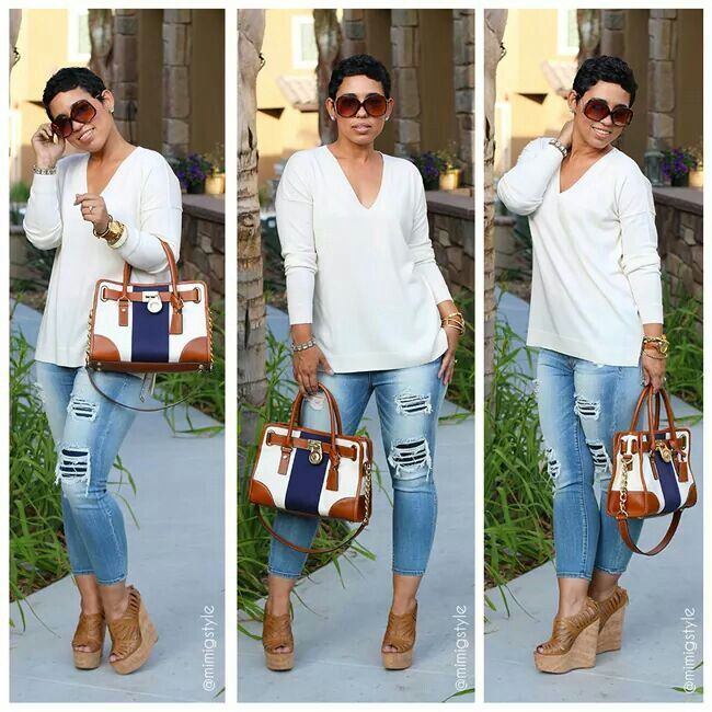 Casual outfit jeans wedges my style pinterest