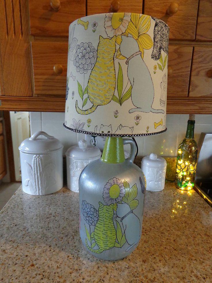 4 l wine bottle lamp cats dogs hand sketched cotton. Black Bedroom Furniture Sets. Home Design Ideas