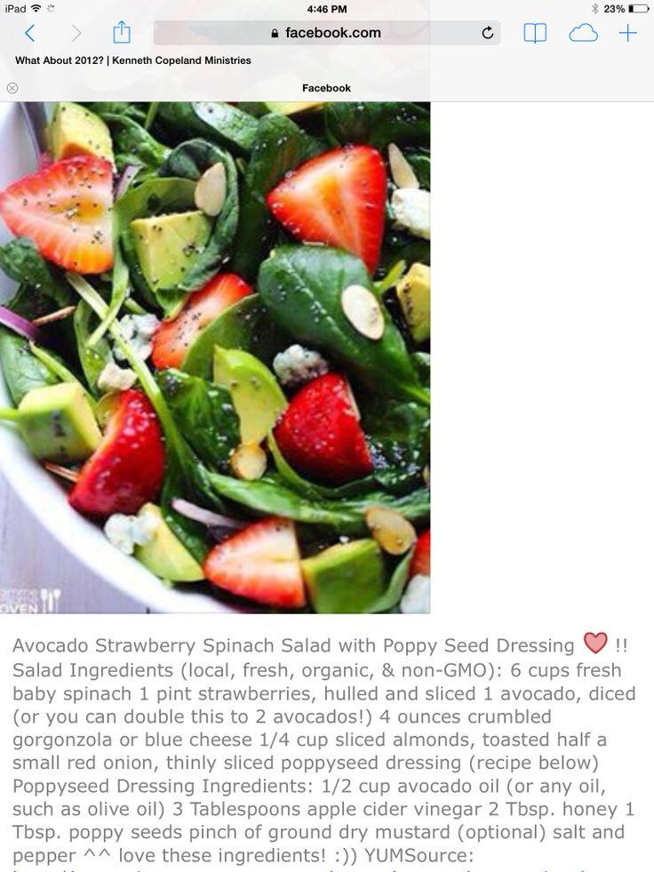 Avocado strawberry spinach salad | Side Dishes/Veggies/Salads/Fruits ...