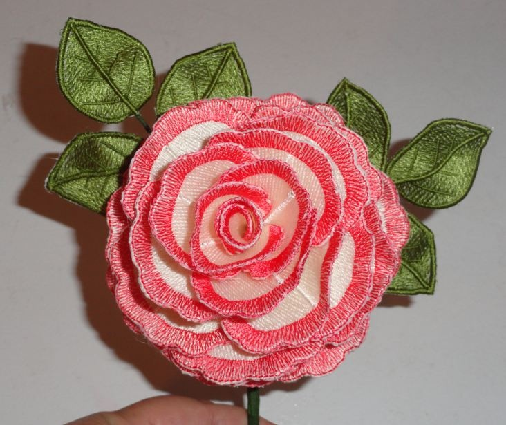 Pam s pink and white rose machine embroidery d