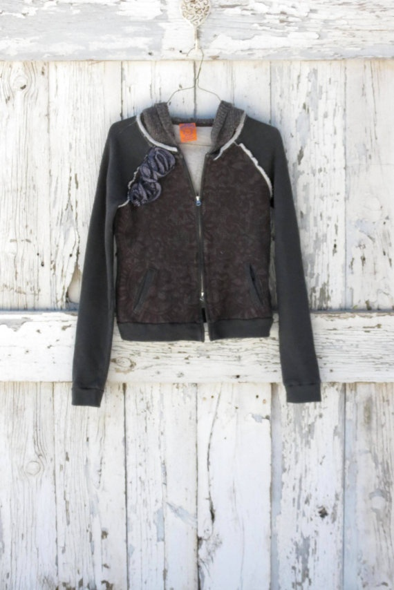 RESERVED for M-Blossoms on Brown Boho Hoodie upcycled free people nat