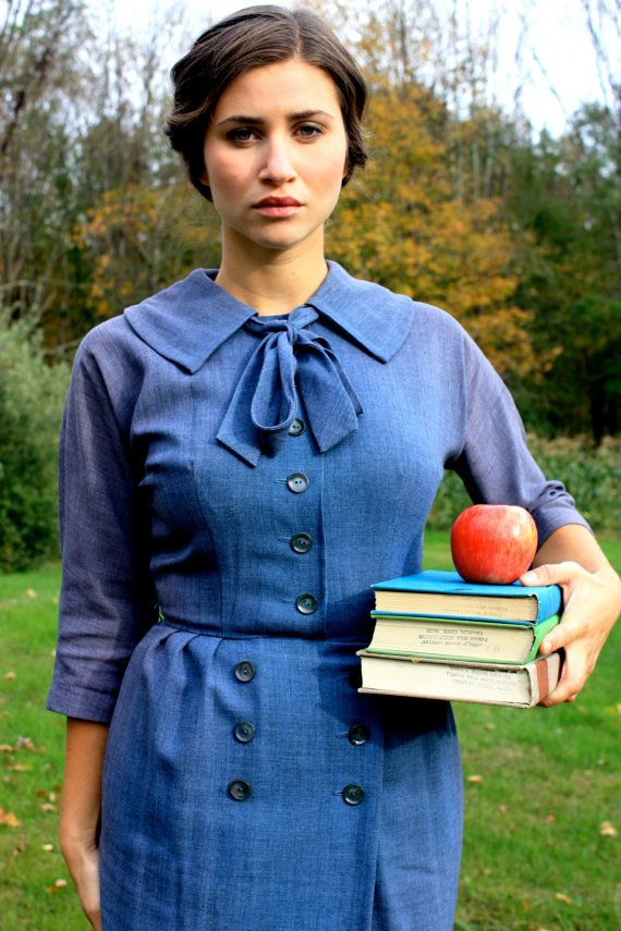 Vintage 1950's School's In Session Grey Blue Chambray by SloppyJos, $60.00