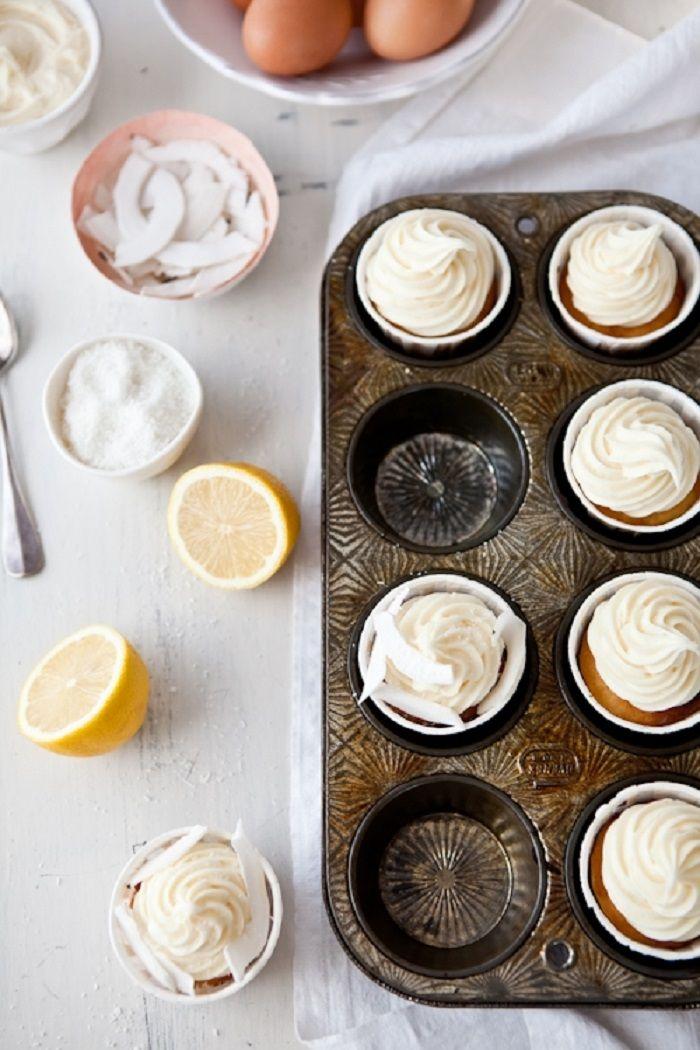 Lemon Coconut Cupcakes #GF | Food: Gluten Free Sweet | Pinterest