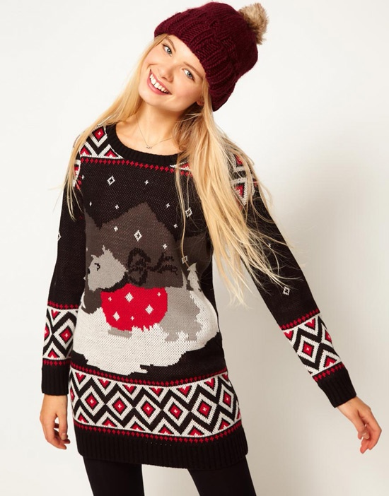 Sweater dress with cute dog design