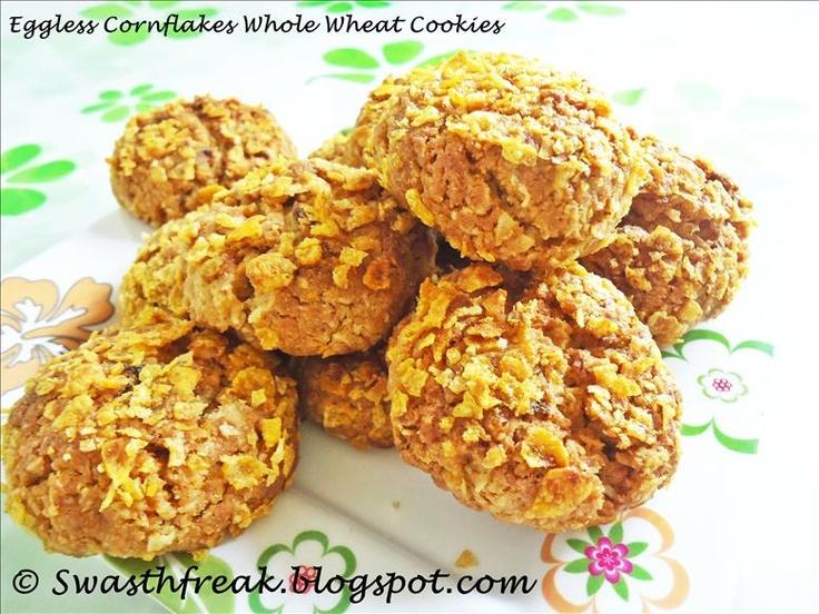 Eggless Cornflakes Whole Wheat Cookies Recipe