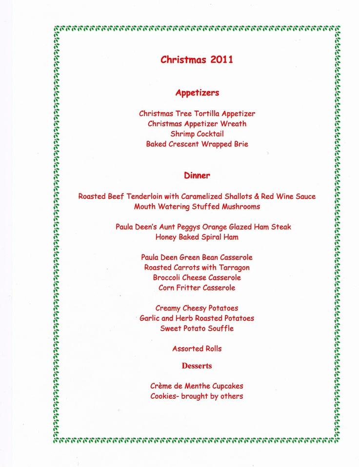Christmas dinner menu food and drink pinterest for Southern christmas dinner menu ideas