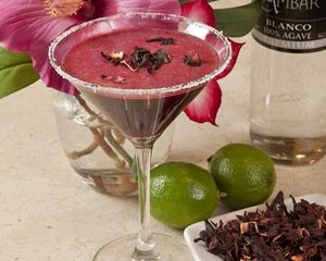 Hibiscus margarita is made with a hibiscus syrup mixed with tequila ...
