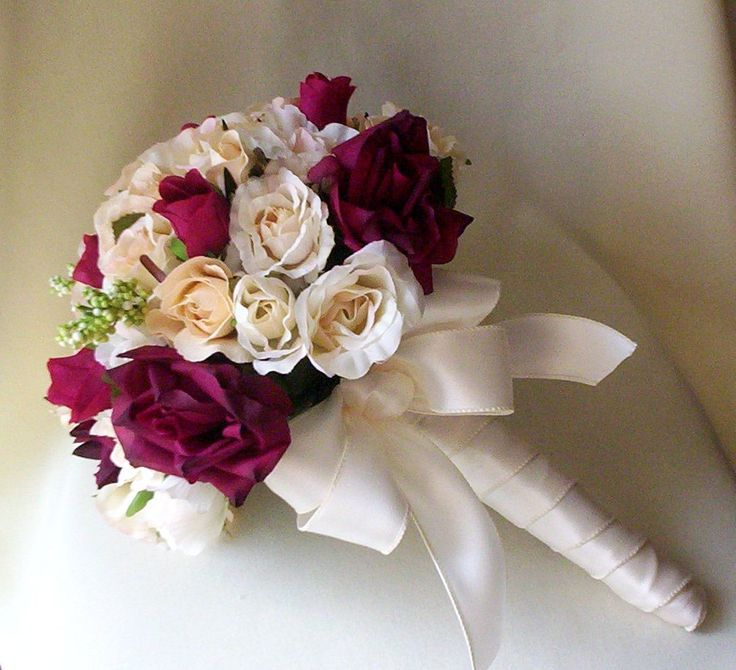 Silk Wedding Flowers Burgundy Wine Ivory Roses Champagne bridal Bouquet Winter wedding Accessories. $110.00, via Etsy.