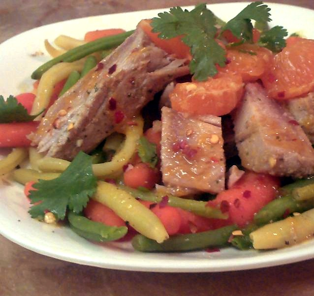 Ahi Tuna & Legumes With Mandarin Honey Glaze Recipe — Dishmaps