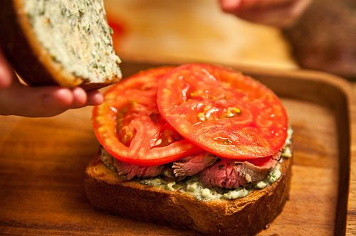 Flank Steak on Texas Toast with Chimichurri | Recipe