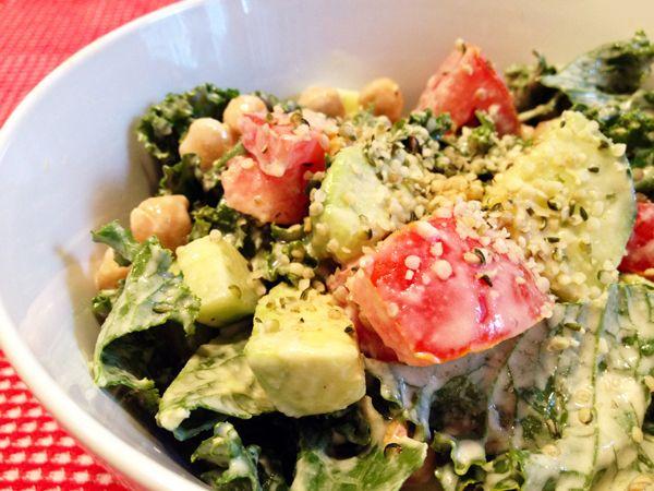 Kale Salad with Creamy Lemon Tahini Dressing   Recipe