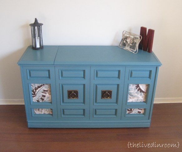 Old Stereo cabinet turned pretty linen/toy chest