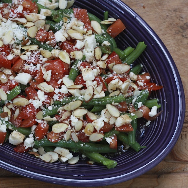 Green Beans with Tomatoes, Almonds, Feta, and Balsamic