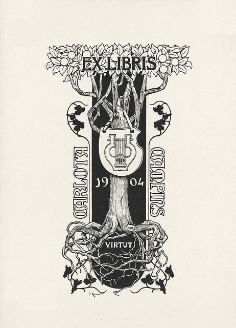 Bookplate: Carlota Campins by Joaquim Renart, 1904 by peacay,
