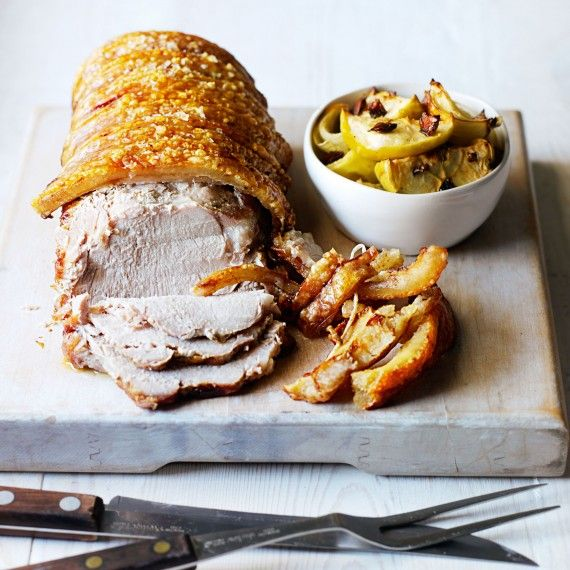 Roasted pork loin with baked apple and onion chutney | Recipe