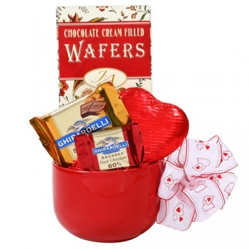 Love You a-latte! This gift basket includes a red latte mug and an ...