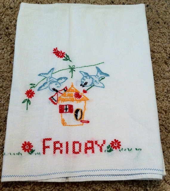 Vintage Embroidered Bluebird Bird House Kitchen Towel Blue Birds Friday. ETSY