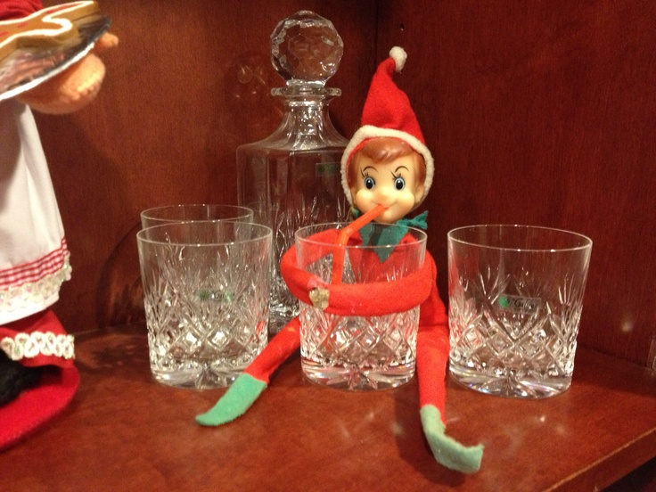 Elf on the shelf enjoying a drink at moms