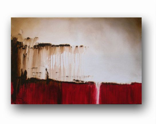 Red canvas abstract painting minimalist art large original painting brown red painting - Best paint for home exterior minimalist ...