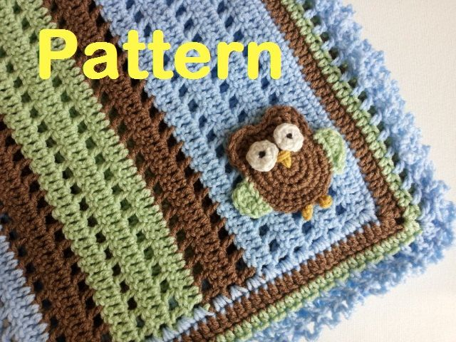 PATTERN - Crochet Baby Owl Applique Receiving Blanket