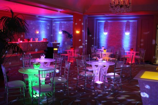 glow tables, reception with high-tech or space-agey theme