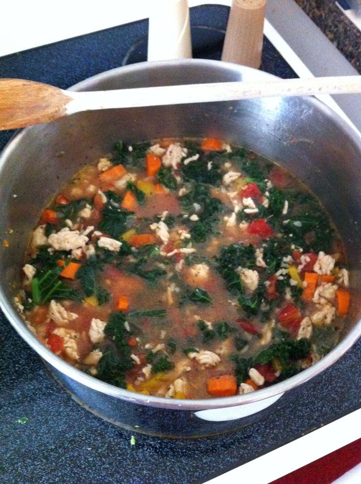 Turkey, rice & kale soup (gaida recipe): coat the bottom of soup pot ...