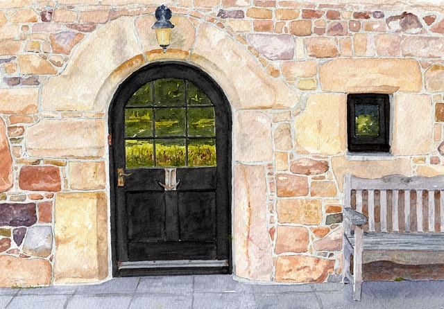 Old farmhouse door watercolor...