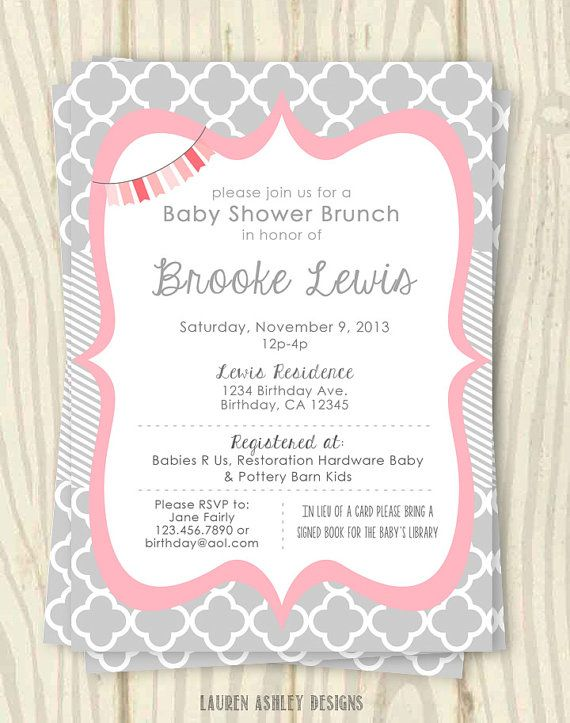 pink and grey baby shower invitation 5x7